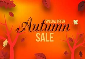 Banner for autumn sale with trees and leaves vector