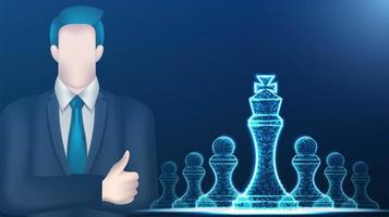 Business man and wireframe low poly chesse pieces vector