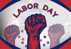 Happy Labour Day Text and Fists in Red and Blue vector