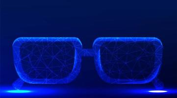 Spectacles, eyeglass low poly wireframe mesh design vector