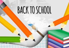 Back to school with school items and elements vector