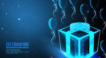Flying balloons and gift box low poly wireframe design vector