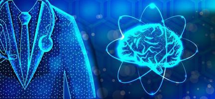 médico especialista en cerebro diseño de estructura metálica de baja poli vector