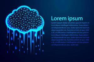 Cloud with rain abstract low poly design