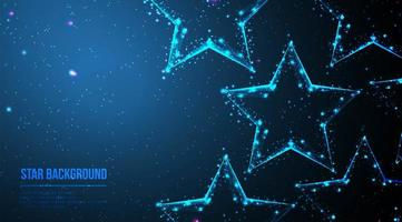 Abstract polygonal wireframe stars on dark blue vector