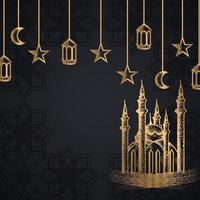 Detailed Sketch Design of Mosque and Hanging Elements vector