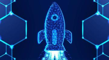 Rocket launch low poly wireframe mesh design vector