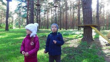 Junge Kind blond und Mädchen Kind in Gläsern, die auf grünem Gras gehen. Kinder lernen einen großen Kletterrahmen.