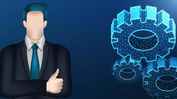 Business man and wireframe mesh cog gears