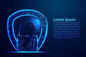 design de wireframe poligonal de proteção e bloqueio