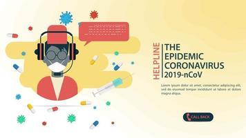 Coronavirus helpline center banner template vector