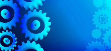 Blue cogwheels on left and right with copyspace vector