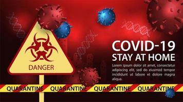 modelo de banner de perigo de coronavírus vetor