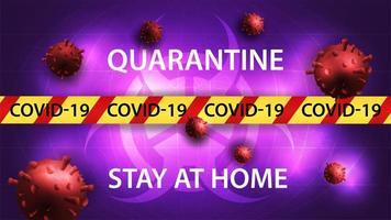 quedarse en casa, plantilla de banner de peligro de coronavirus vector