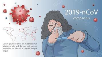 Sick woman on coronavirus outbreak banner template vector
