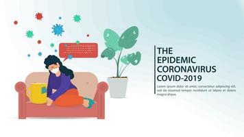 banner de cuarentena y prevención de coronavirus vector