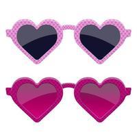 Stylish pink heart glasses  vector