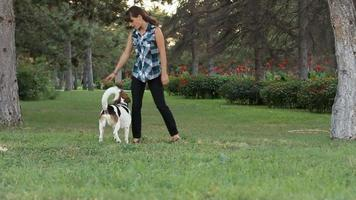 mulher e seu cachorro video