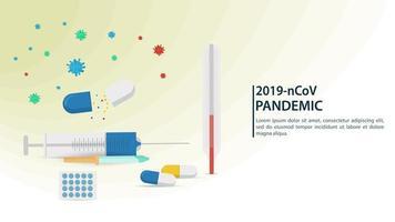 icônes médicales, bannière de pandémie de coronavirus vecteur