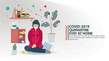 banner de prevención de la pandemia de coronavirus y quedarse en casa vector