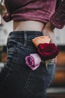 Roses inside a person's pocket