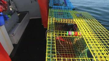 i pescatori di aragoste controllano le trappole, ispezionano l'aragosta, la gettano indietro, maine