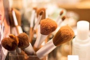 Makeup brushes close up.