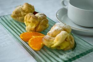 Choux pastry on plate photo