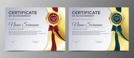 certificado de logros con cintas doradas, verdes y rojas vector