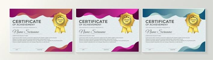 Blue certificate set with colorful wavy layers vector