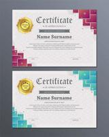 Layered squares modern certificate set vector