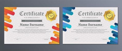 conjunto certificado moderno colorido de tira arredondada