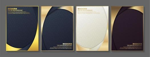 Gold Rounded Border Cover Set vector