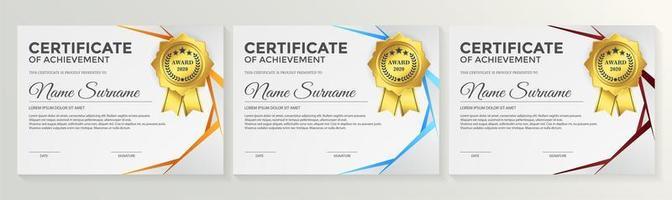 conjunto de certificado de associação de cantos prateados