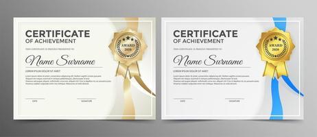 certificado con cintas doradas y azules. vector