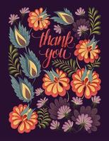Floral thank you greeting card vector
