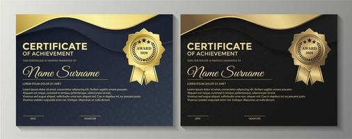 Premium golden blue and brown certificates vector