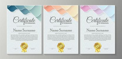 conjunto de certificado de camadas onduladas pastel