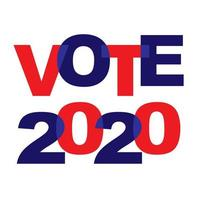 VOTE 2020 blue red overlapping typography
