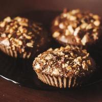 Brown oat muffins photo