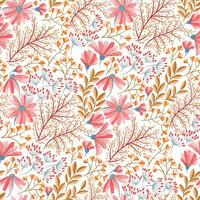 Spring pink, blue and orange floral pattern