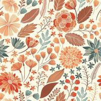 Seamless Orange Floral Pattern