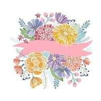 Floral greeting card with pink ribbon