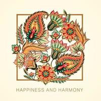 Happiness and Harmony Victorian Paisley Design vector