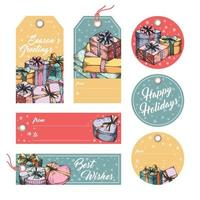 Holiday greeting tags and labels vector