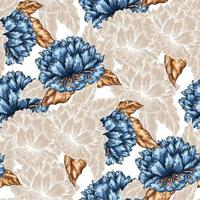 Seamless Graphic Peonies Pattern