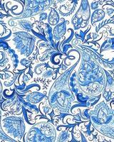 Paisley Blue Winter Ornament Seamless Pattern vector