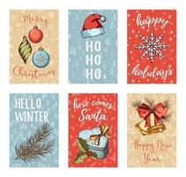 Hand drawn Christmas card collection vector
