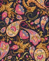 Seamless Paisley Pattern in Magenta and Gold vector