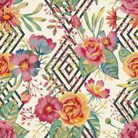 Watercolor Flower and Diamond Seamless Pattern